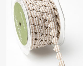 Gingham Adhesive Ribbon, gingham hearts - - Beige or Red -  Price per Yard