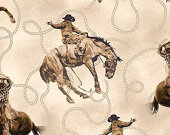 Cowboy Fabric - Bronco - Horse Fabric - Round Em Up - Dan Morris for Quilting Treasures - 26605 E Cream - Priced by the 1/2 yd
