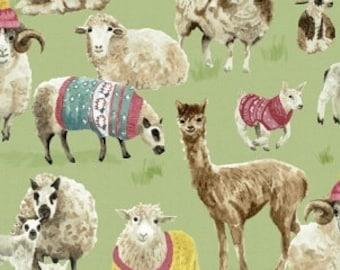 Knit Purl Fabric - Llamas & Sheep Main Design - Windham  51605 X - Priced by the Half Yard