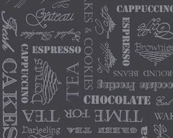Tea Fabric, Coffee Break Fabric - Afternoon Delight - Helz Cuppleditch - Quilting Treasures - 23354 J  - Charcoal - Priced by the 1/2 yard