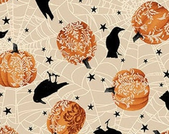Spooky Night - Tossed Crow and Damask Pumpkin - Grace Popp for Studio E - 5719 33 - Priced by the 1/2 yard
