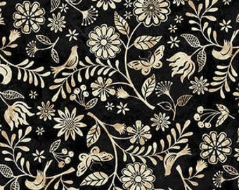 Tossed Wildflower - Le Poulet collection Jennifer Brinley for Studio E - 5460 99 Black - Priced by the half yard