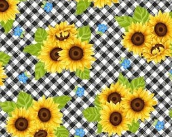 Sunflower Bouquet on Gingham - Sunny Sunflower collection Sharla Fults Studio E - 5573 47 Yellow - Priced by the half yard
