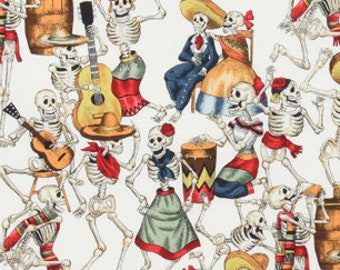 Day of the Dead Fabric - Fiesta de Los Muertos - Dance of the Dead - Folklorico by Alexander Henry - 45 AR Natural - Half yard Price