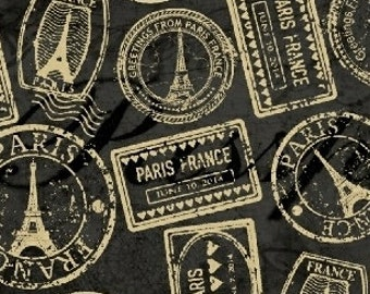 Postmark Fabric, Passport Stamp - Destination Paris by Whistler Studio for Windham 42491 Black - Priced by the half yard