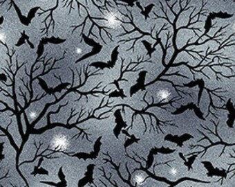 Spooky Night - Flying Bats in Trees - Grace Popp for Studio E - 5724 79 Ink - Priced by the 1/2 yard
