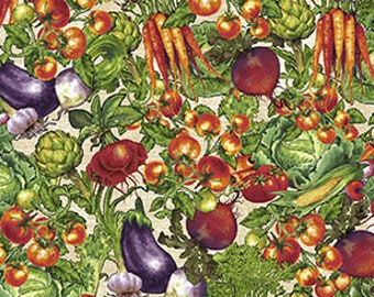 Farmers Market - Small Veggie - Packed Vegetables - by Geoff Allen for Studio e - 4459 44 Cream - Priced by the 1/2 yard