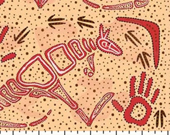 Australian Fabric - Kangaroo Fabric - Aboriginal Fabric - Rock Art Dreaming Ecru by Andrew Braedon - Priced by the half yard