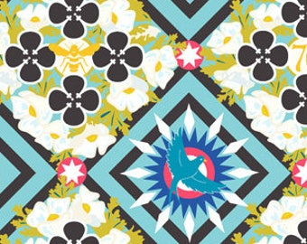 Alison Glass Bird Fabric, Bee Fabric, Geometric Square - Renewal Seventy Six for Andover Fabric 8444 T Teal - Priced by the Half Yard