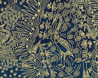 Australian Fabric - Crane - Bird Fabric - Aboriginal Fabric - Brolga Life Blue by Nambooka - Priced by the half yard