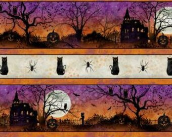 Frightful Night - Cat Haunted House Moon - Wilmington Prints - 20503 869 Border Stripe - Priced by the half yard