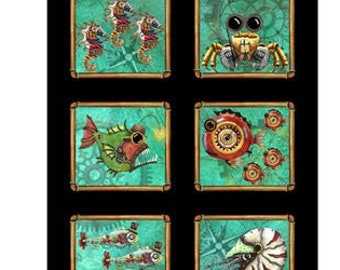 Aquatic Steampunkery - Steampunk Patch Panel - Desiree Designs for QT Fabrics - 28390 J - Priced by the 24-Inch panel