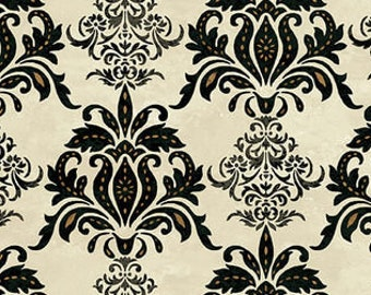Damask Motif- Le Poulet collection Jennifer Brinley for Studio E - 5459 33 Black & Cream - Priced by the half yard