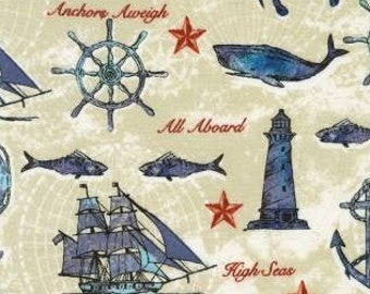 Anchors Aweigh Nautical Motif Fabric - Jennifer Van Pelt from Set Sail for Kaufman 73181 153 SAND - Priced by the half yard