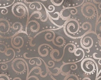 Scrollscape Ombre Fabric - Blender Fabric Ombre Scroll Quilting Treasures - 24174 K Stone Gray  - Priced by the Half Yard