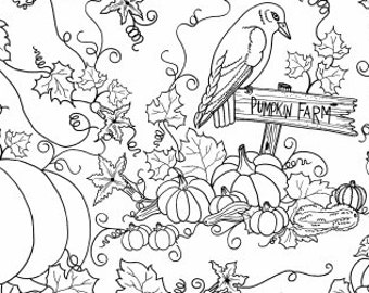 Let's Color Outline Fabric - Crow Pumpkin by Tara Mueller Denim & Dirt - 8263 - Priced by the Half Yard
