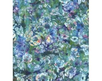 RJR Arcadia Fabric - Arcadia - Textured Posie - Digiprint Fabric - RJ804-AQ1D Aquamarine - Priced by the 1/2 yard