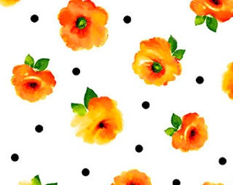 Brooke Fabric - Small Tossed Floral by Studio 8 for Quilting Treasures 26319 ZO White & Orange - Priced by the 1/2 yard