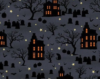 Spooky Night - Spooky Houses Cemetary - Grace Popp for Studio E - 5723 97 Midnight Blue - Priced by the 1/2 yard