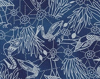 Australian Fabric - Brogla Crane - Bird Fabric - Aboriginal Fabric - Brolga Dreaming by  Nambooka - Blue - Priced by the half yard