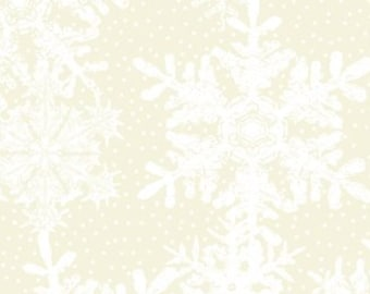 Snowflake Fabric - Poinsettia Winter - Christmas Fabric - In The Beginning - 11APW 1 White Cream - Priced by the 1/2 yard