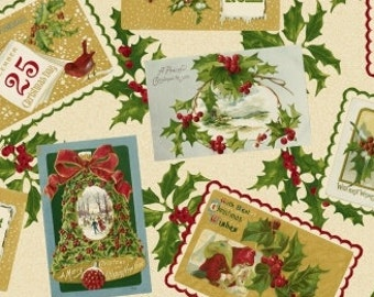 Christmas Fabric, PostCard Fabric - Yuletide Postcard by Lisa deBee Schiller for Windham Fabrics - 40394 - Priced by the Half Yard