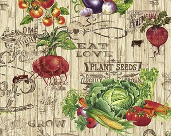 Farmers Market - Veggie Toss - Vegetable Fabric - by Geoff Allen for Studio e - 4452 44 Cream - Priced by the 1/2 yard