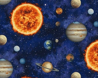 Solar System Fabric - Space Fabric - Planetary Missions by Studio e Fabrics - 5305 77 Blue - Priced by the half yard