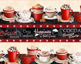 Time for Hot Cocoa Fabric by Conrad Knutsen for Wilmington - Border Stripe Cups - 30522 923 - Priced by the Half Yard
