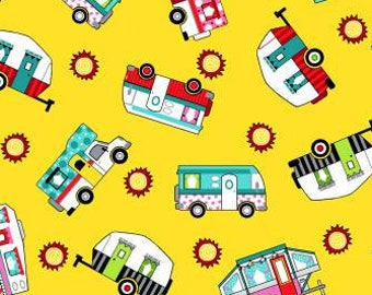 Tossed Trailers  Roamin Holiday - Trailer Fabric - Pam Bocko for Studio E - 5502 44 Yellow  - Priced by the 1/2 yard