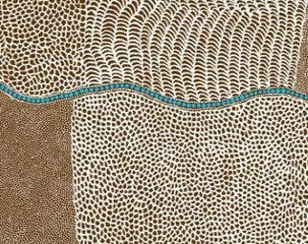 Australian Fabric - Bush Onion - Aboriginal Fabric - Bush Onion Dreaming Brown by Jean Nampajinpa Hudson - Priced by the half yard