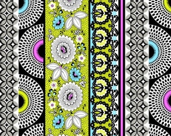 Bright Fabric, Modern Floral Stripe, Mod Black Design Fabric -  Licorice Candy by Studio e -  3352 91 Black White - Priced by the 1/2 yard