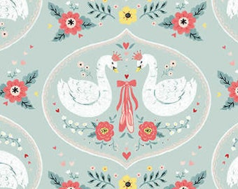 Bella Ballerina Fabric - Swans & Slippers by Lucie Crovatto for Studio e Fabrics - 532 11 Aqua - Priced by the half yard