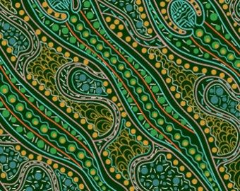 Australian Fabric - Spirit Woman - Aboriginal Fabric - Spirit Dreaming Green by Anette Doolan - Priced by the half yard