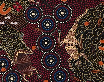 Australian Fabric - Around Waterhole Red - Aboriginal Fabric - by Nambooka - Priced by the half yard