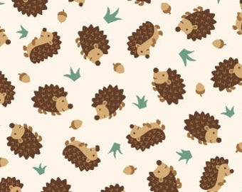 Hedgehog Fabric - Camp Along Critters by Studio e Fabrics -4008 44 Ecru - Priced by the half yard