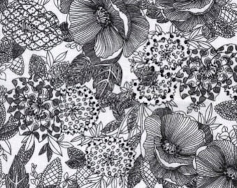 Floral Fabric, Etched Floral, Vintage Floral - Jolene, Blank Quilting  427 09 Black  - Priced by Half yard
