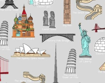One World Fabric, Landmarks of the World - We Share One World by Whistler Studio for Windham 42716 X - Priced by the half yard