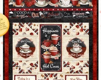 """Time for Hot Cocoa Fabric by Conrad Knutsen for Wilmington - Cocoa Quilt Banner - DIY 29"""" x 54"""" Kit"""