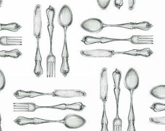 Cutlery Fabric, Spoon Fork, Eating Utensil - Farm to Table by Danielle Murray for Blank Quilting - 8348 01 White - Priced by 1/2 Yard