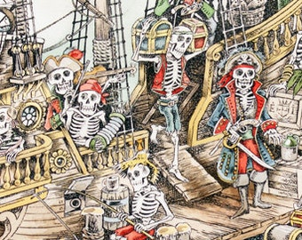 Alexander Henry Fabric, Skeleton Fabric, Halloween, Pirate Fabric - Skelewags - 8432 B Natural - Half Yard Price