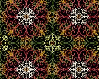 Christmas Filigree Fabric, Holiday Medallion, Holiday Decorating -  Holiday Flair by Art Loft, Studio E - 3785M 99 - Priced by the 1/2 yd