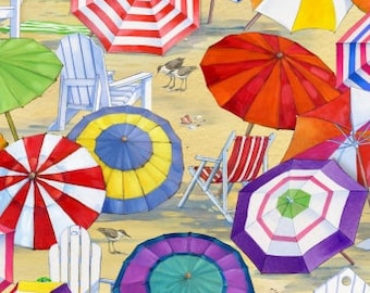 Beach Umbrella Seaside Fabric - Beach Vista by Hal Brent for Elizabeth's Studio - ELS  6506 Sand - Priced by the half yard