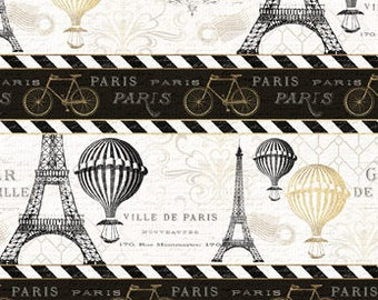 Paris Fabric, Tres Graphique, Eiffel Tower, Hot Air Balloons, Bicycle -  Wilmington - 82524 195 - Border Stripe - Priced by the Half Yard
