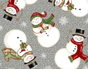 Christmas Fabric - Snowman - Winter Greetings Sharla Fults Studio E Fabrics - 4215 90 Gray - Priced by the half yard
