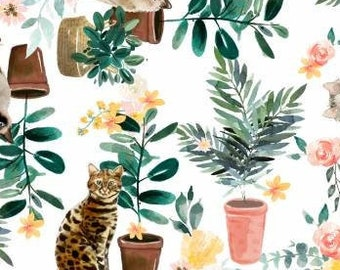 Everyday is Caturday - 3wishes Fabric - Cat Plants 18037 White - Priced by the half yard