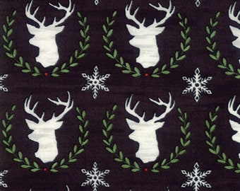 Christmas Fabric - Hearthside Holiday - Brushed Cotton - Deer 19832 13B Black - Priced by the half yard