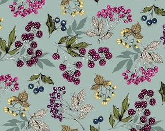 Berry Fabric, Blackberry, Huckleberry, Botanica Forest Fruits -  Andover Fabric 1864 B Blue  - Priced by the Half Yard