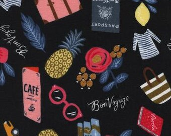 Cotton and Steel Fabric - Passport Bon Voyage - Les Fleurs - Rifle Paper Co. - 8000 2 Black & Metallic - Cotton - Priced by the Half yard