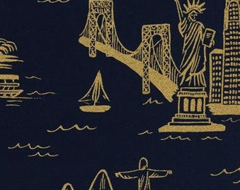 Cotton and Steel Fabric - City Toile - Les Fleurs - Rifle Paper Co. - 8006 11 Navy & Gold, Cotton Lawn - Priced by the Half yard